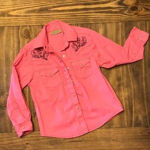 Pink pearl snap shirt